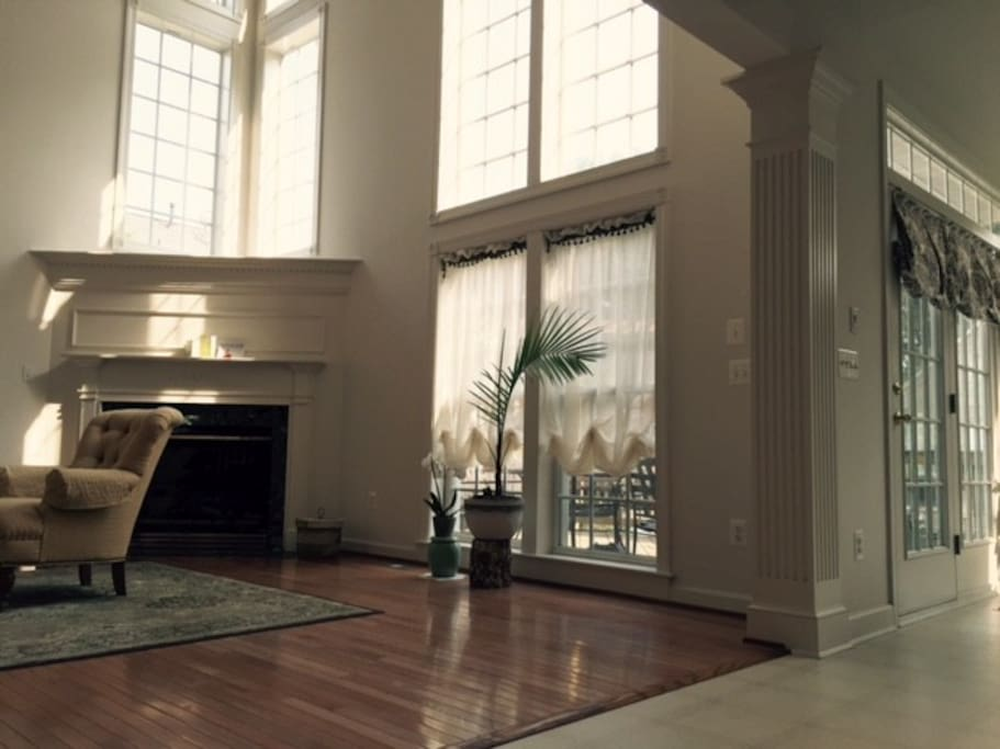 Plenty of sunlight in the main living area. Gas fireplace and patio.