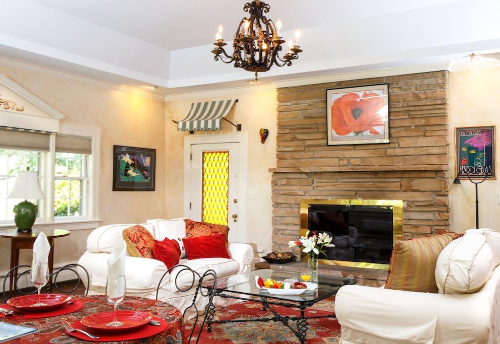 Mardi Gras Suite has large stone fireplace