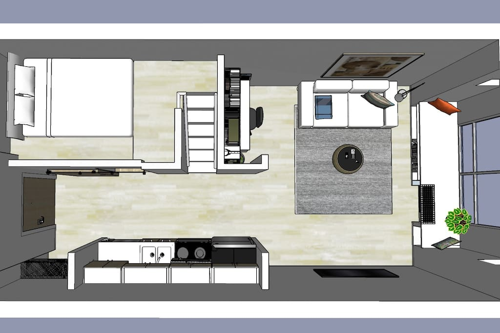 Birdseye view shows complete unit, including kitchen.