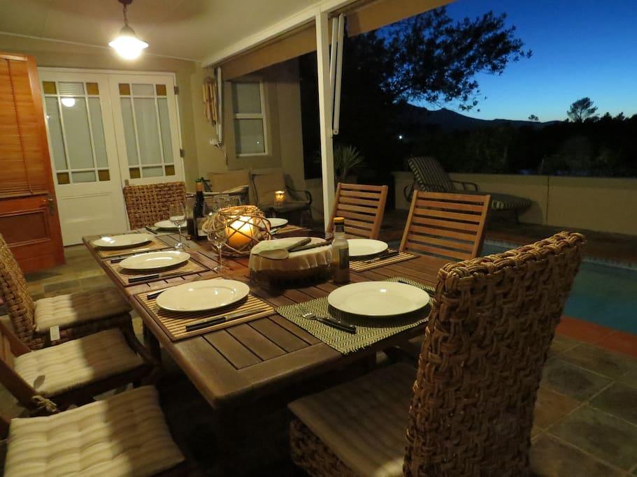 Sundowner dining outside on patio.