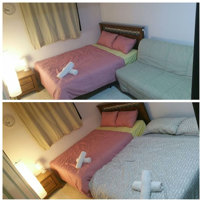 Room 2: Queen Size Bed & Double Sofa Bed