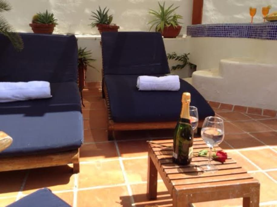 Enjoy  the sun in these comfortable sun loungers with a nice bottle of wine.