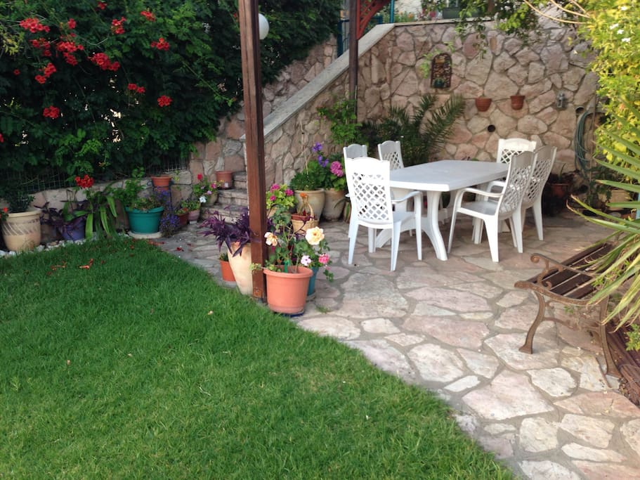 secluded garden - perfect for enjoying an Israeli breakfast or cup of coffee with your hosts