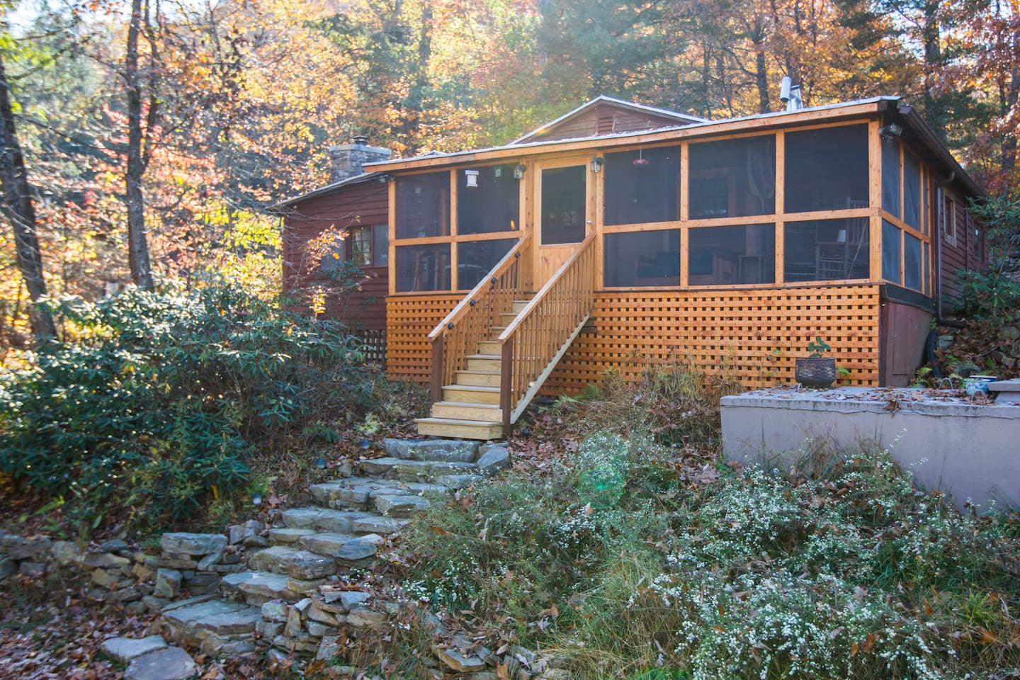 Front View of Dry River Cabin on an Autumn afternoon.