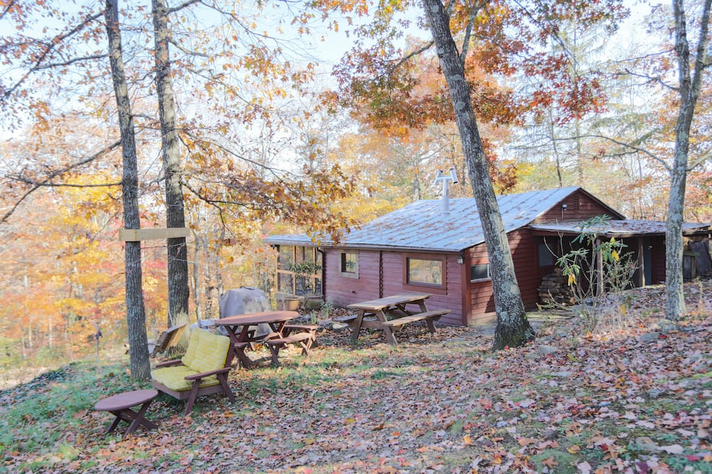 Autumn view from the back side of the cabin.