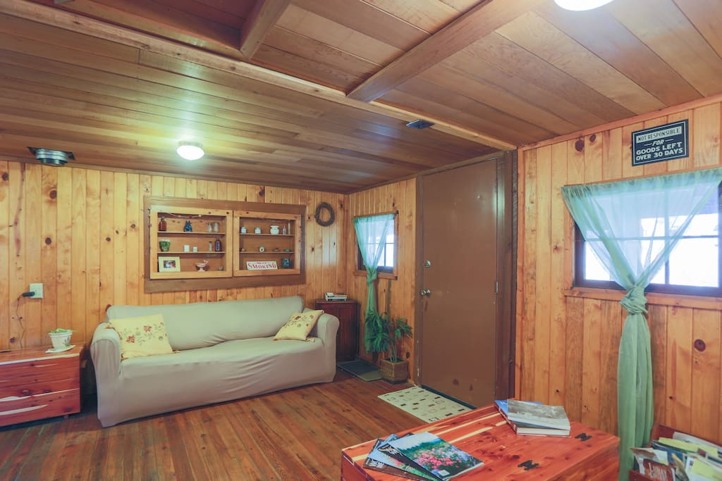 Living Room of Dry River Cabin, with pull out queen size bed.