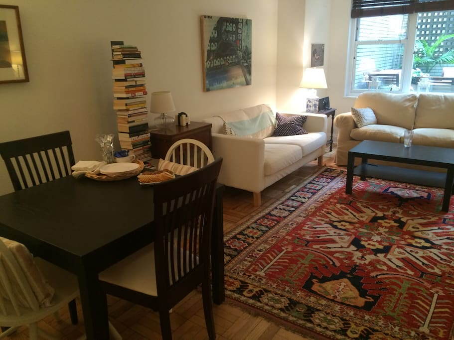 Two couches and separate dining area