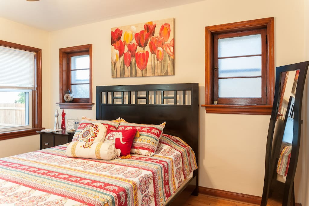 Your guest room with a Queen size bed awaits! We have been told our mattress topper has been life changing :-).