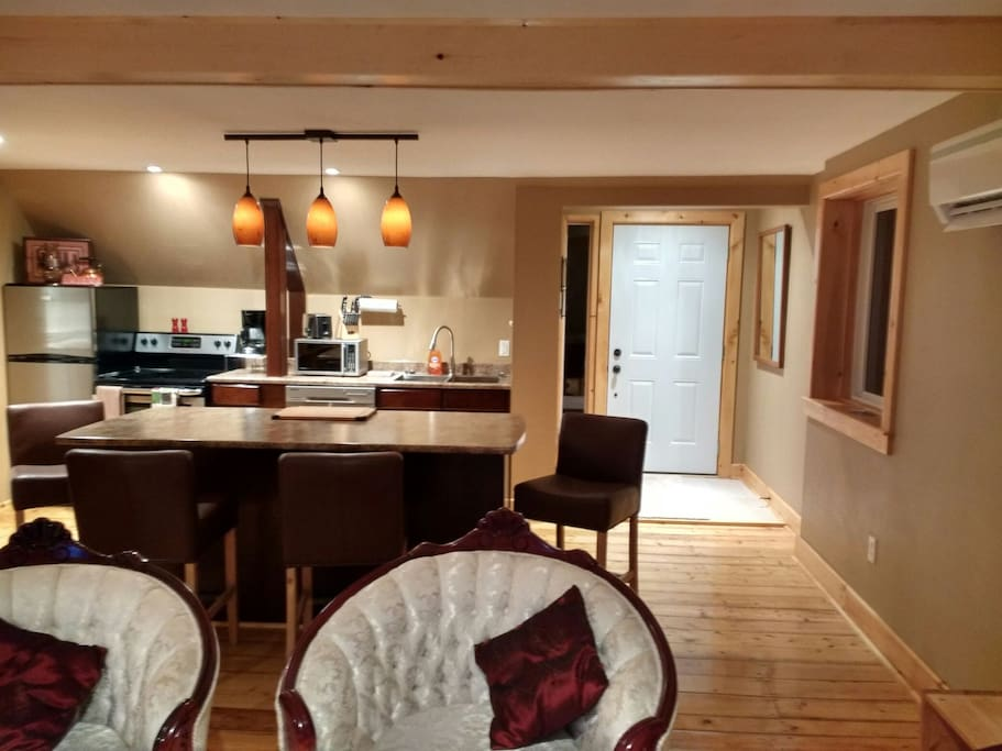 Open concept living room/galley kitchen/dining.