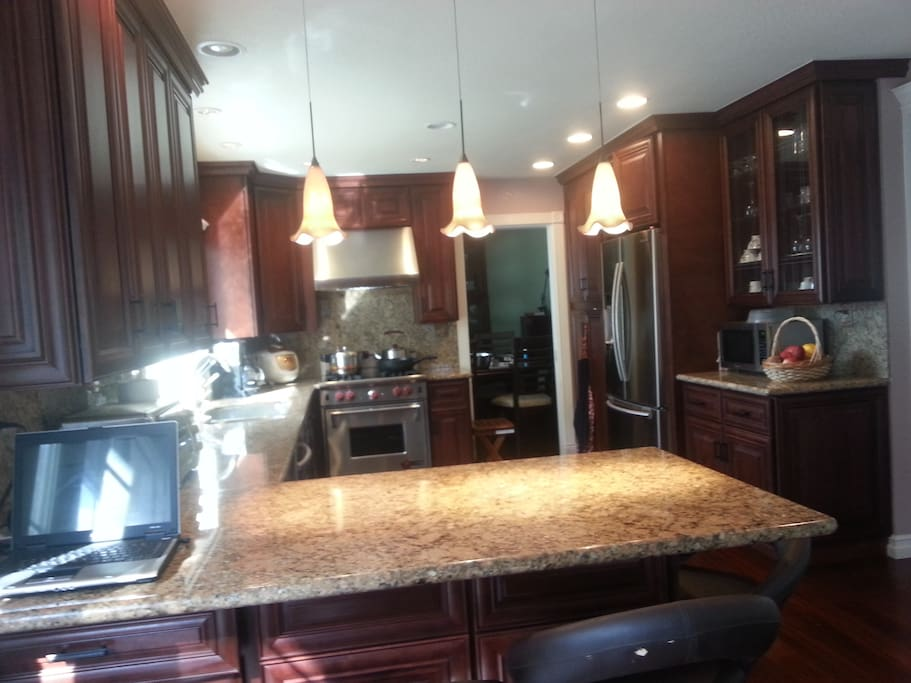 Solid granite countertops & breakfast bar/cherrywood cabinets/Samsung appliances/commercial convection oven/pocket door leads to the dining room