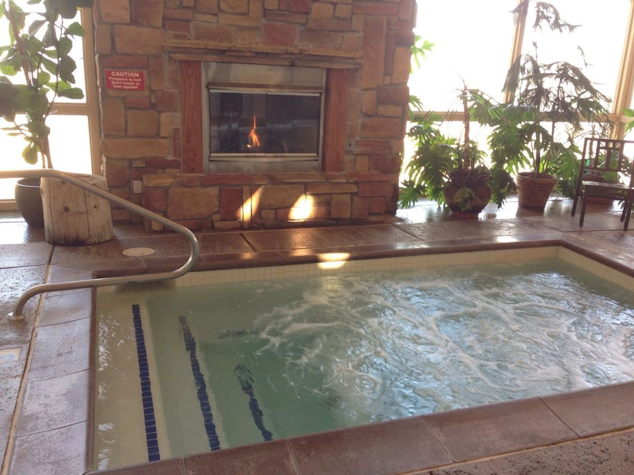 Hot tub next to the fire