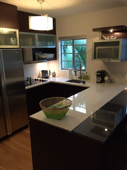 Modern Kitchen, with new stainless steel appliances and granite countertops.