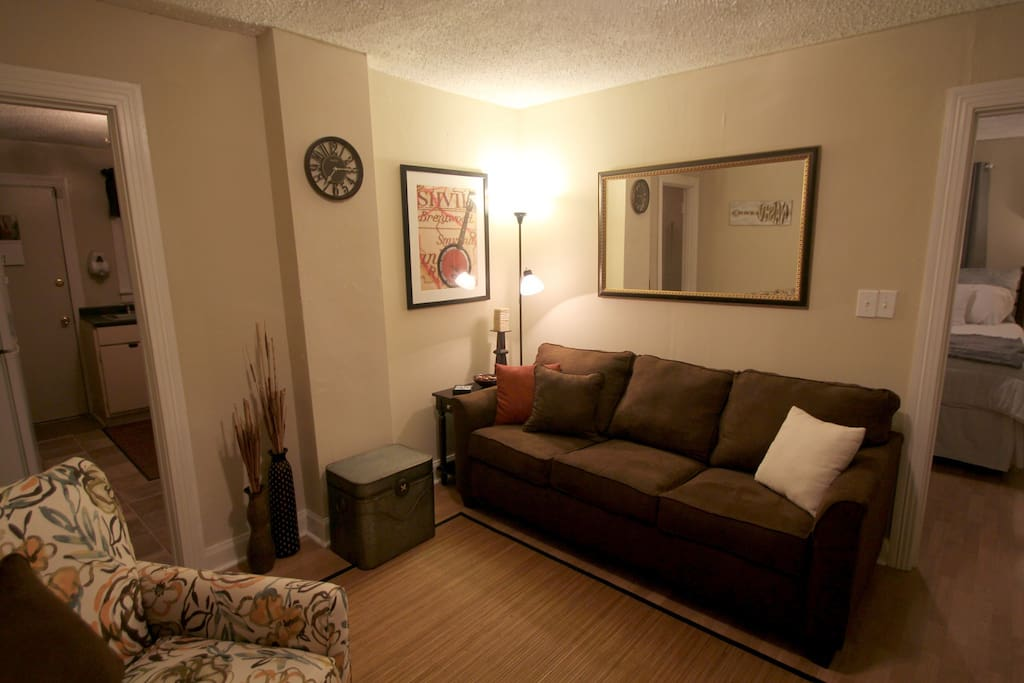 Living room with queen sleeper sofa featuring an upgraded AirDream mattress!