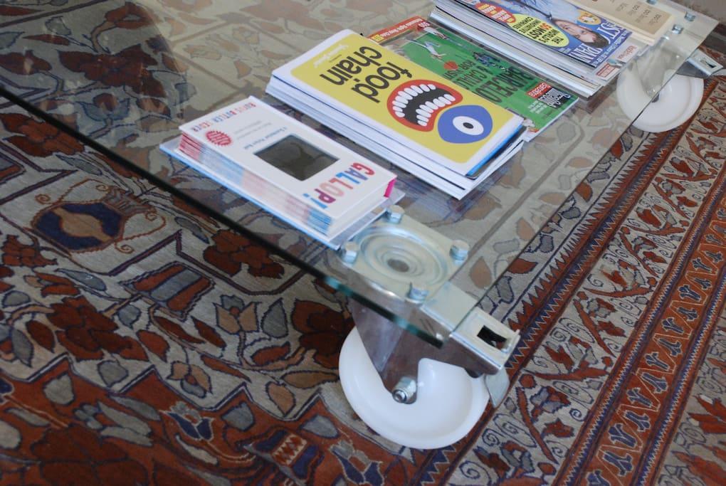 Handmade coffee table  with books