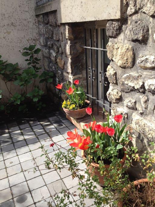 fenêtre de la chambre en cour anglaise