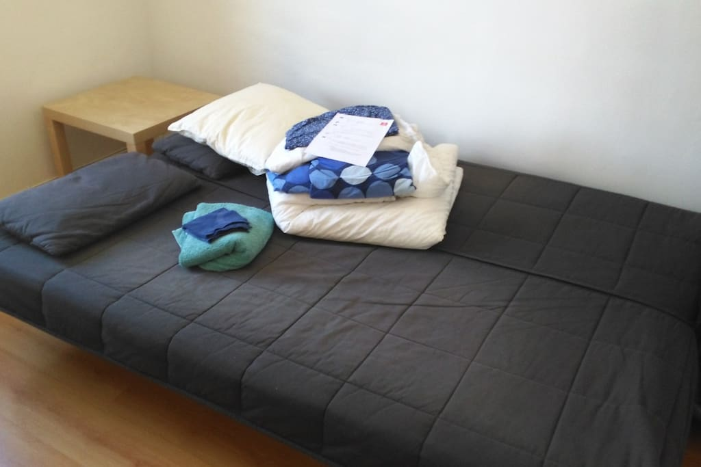 Guest room with comfy unfolded sofa