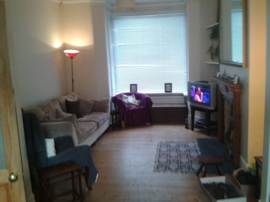 Huge living /dining room with fireplace - now has big flat screen tv