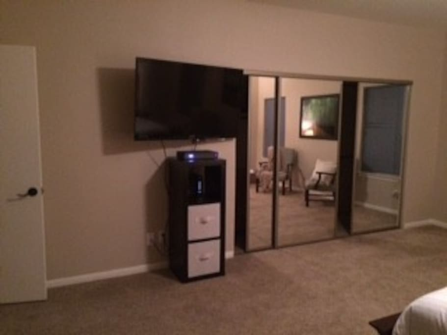 """bedroom has large mirrored closet and 50"""" tv"""