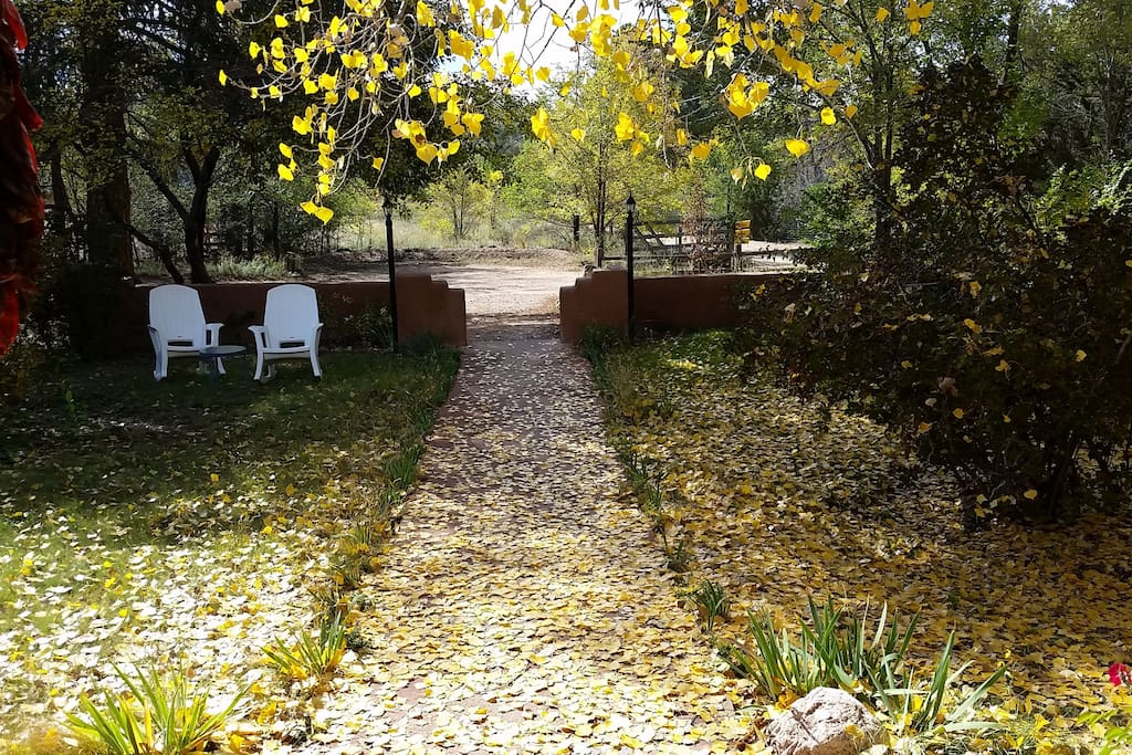 Cottage entryway in the autumn