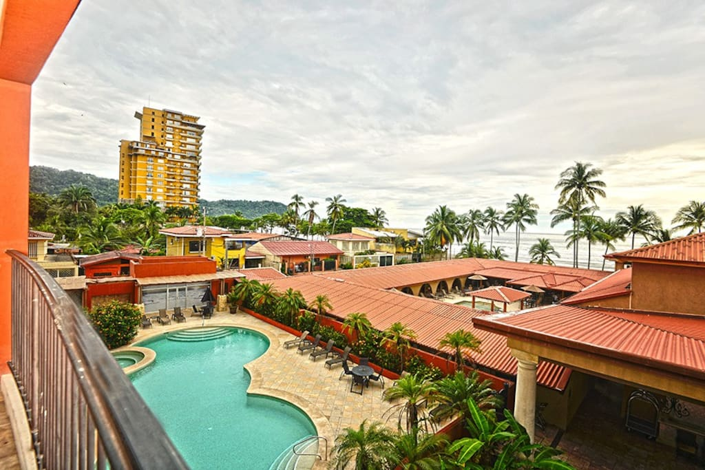 View of the pool and Jaco beach from the balcony.