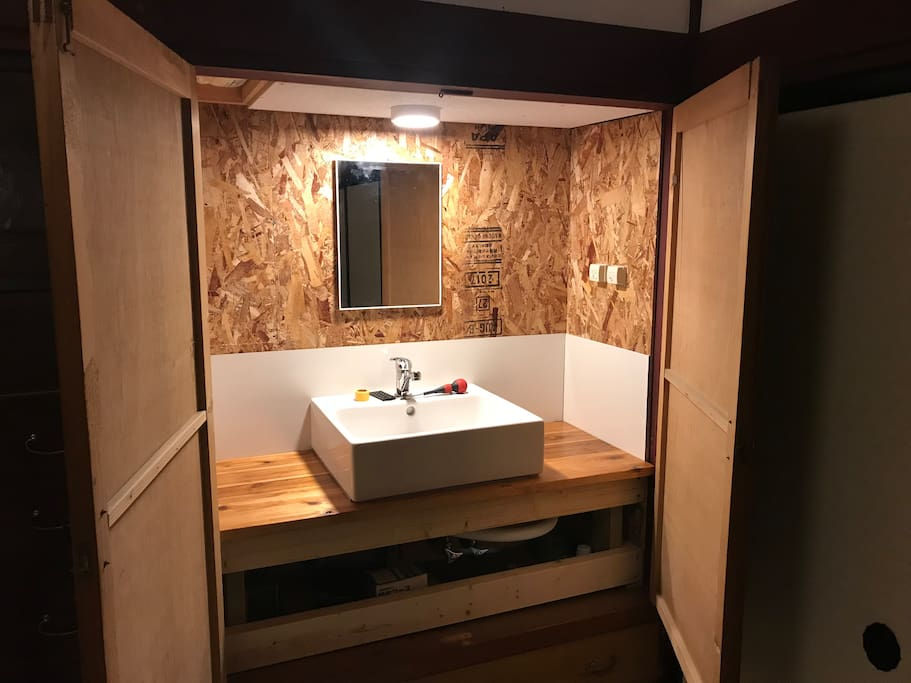 its not done yet, but coming up soon is a brand new sink in a private room for maximum four guests.