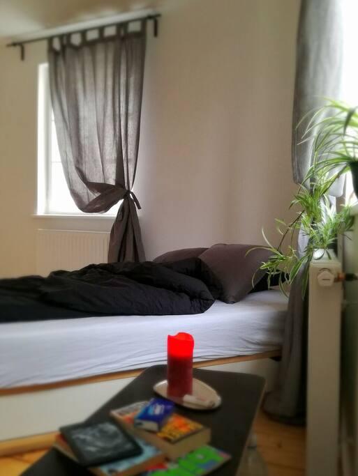 großes und Helles Schlafzimmer. Das Bett müsste ich leider tauschen, da es defekt war.