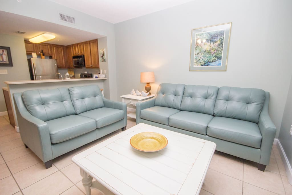 """Living Room with NEW Tempur-Pedic Queen Sleeper Sofa - """"Better than a Bed"""""""