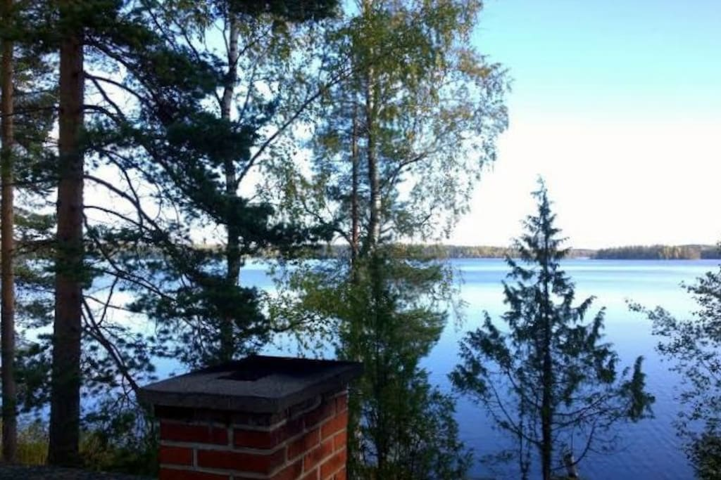 The lake Saarijärvi from the roof of the sauna. In the end of September 2015.