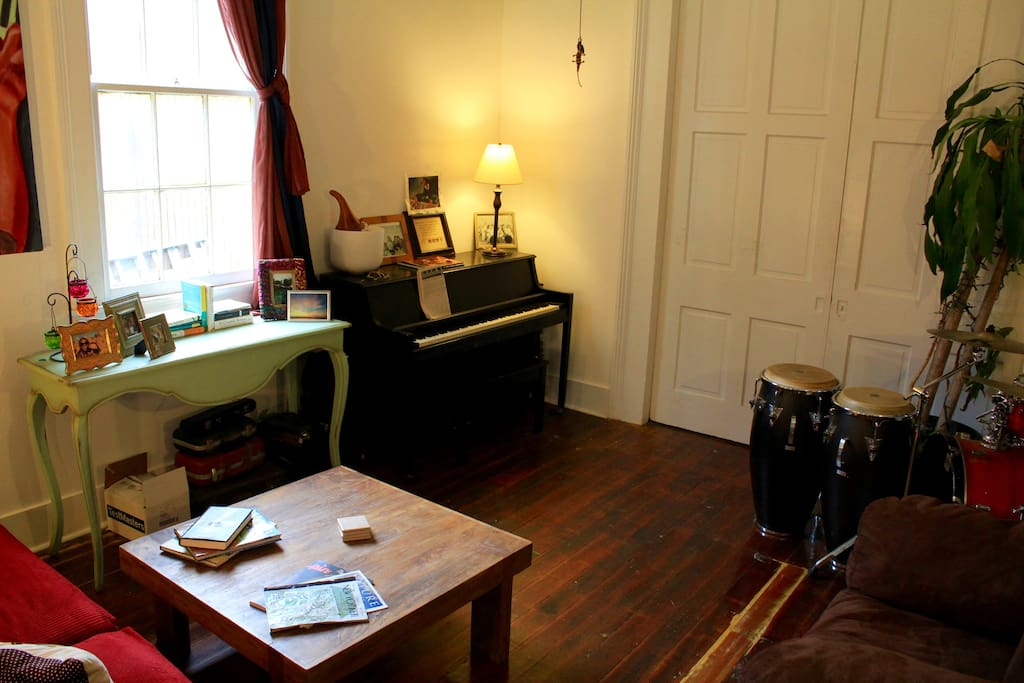 Feel free to indulge in the tones and rhythms of New Orleans in our music room.