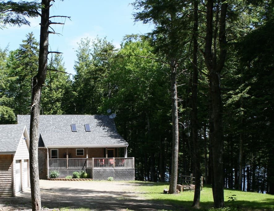 The cottage is in a sunny clearing, yet surrounded by beautiful trees