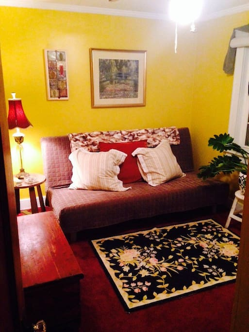 Cozy atmosphere. Futon opens to full-sized bed. Door to room has lock/key.