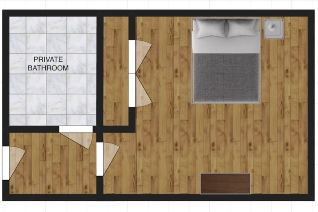 Here is a layout of the room from a bird's-eye-view.