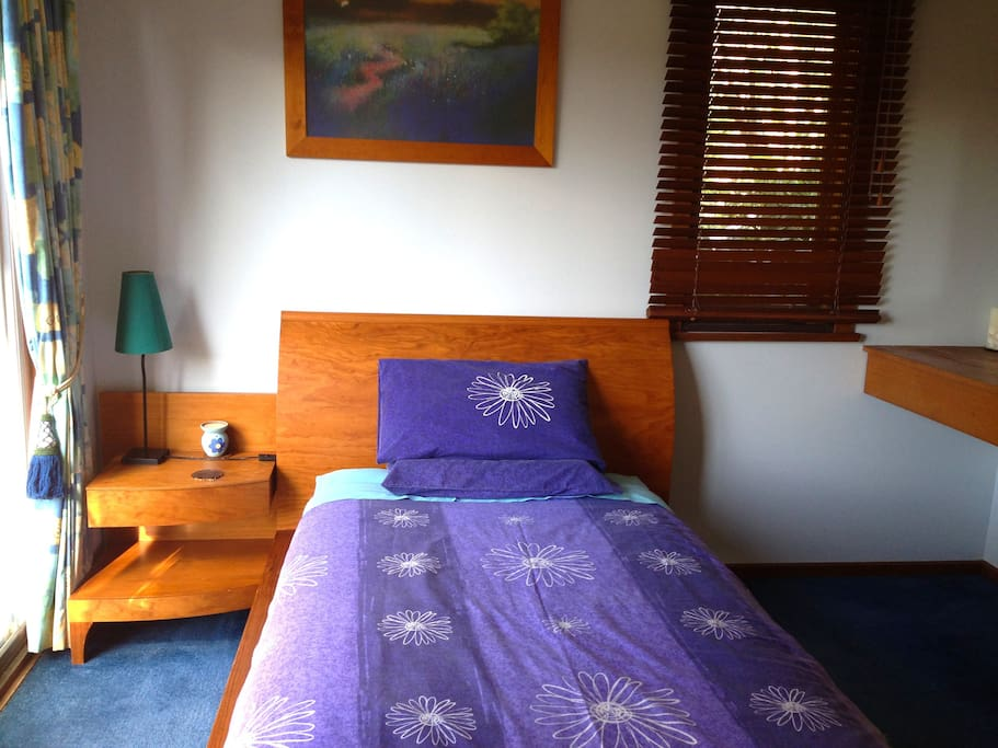 Comfy king single bed. Room includes built in wardrobe. Tea and coffee facilities.