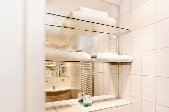bath room with towels and heated towel rack