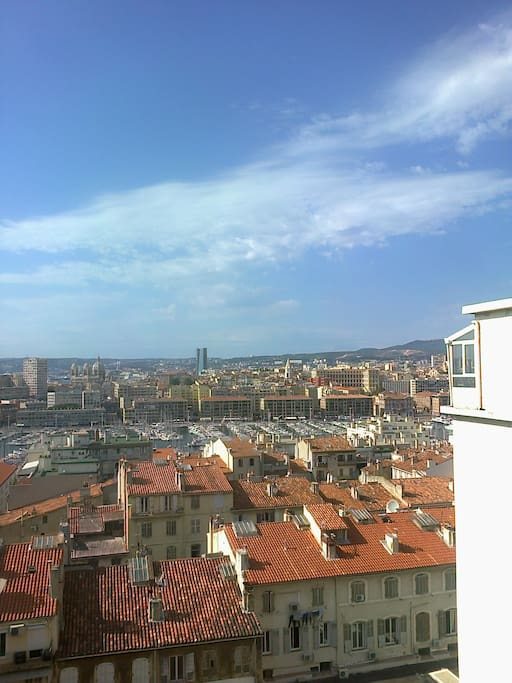 vue de la véranda de la cuisine : Vieux Port