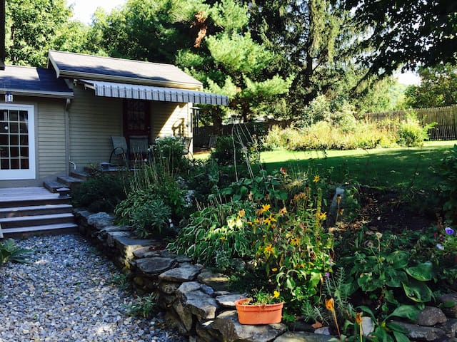 back yard porch and gardens