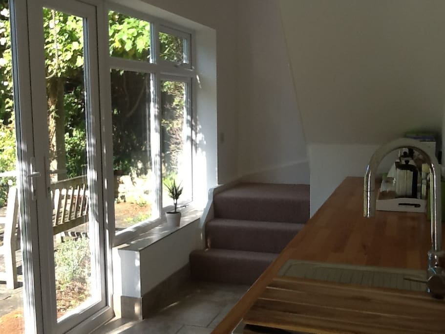View from kitchen to garden