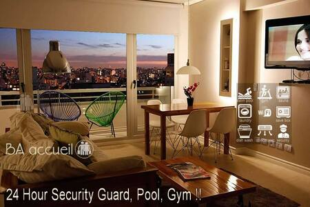 5⭐Palermo Great View 24hs Security+Pool+Gym+Spa