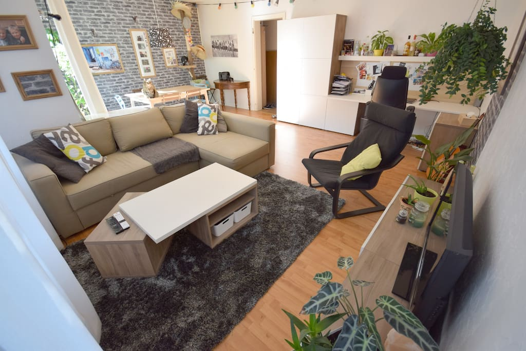 Le salon / séjour :  - Canapé-lit pour 2 personnes - Espace pour un matelas 2 places si besoin.