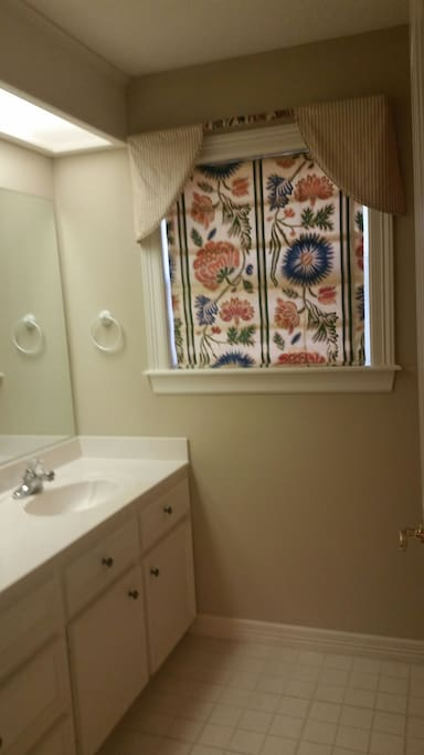 Large vanity in bathroom. It is fully stocked with necessities that you may have forgotten.