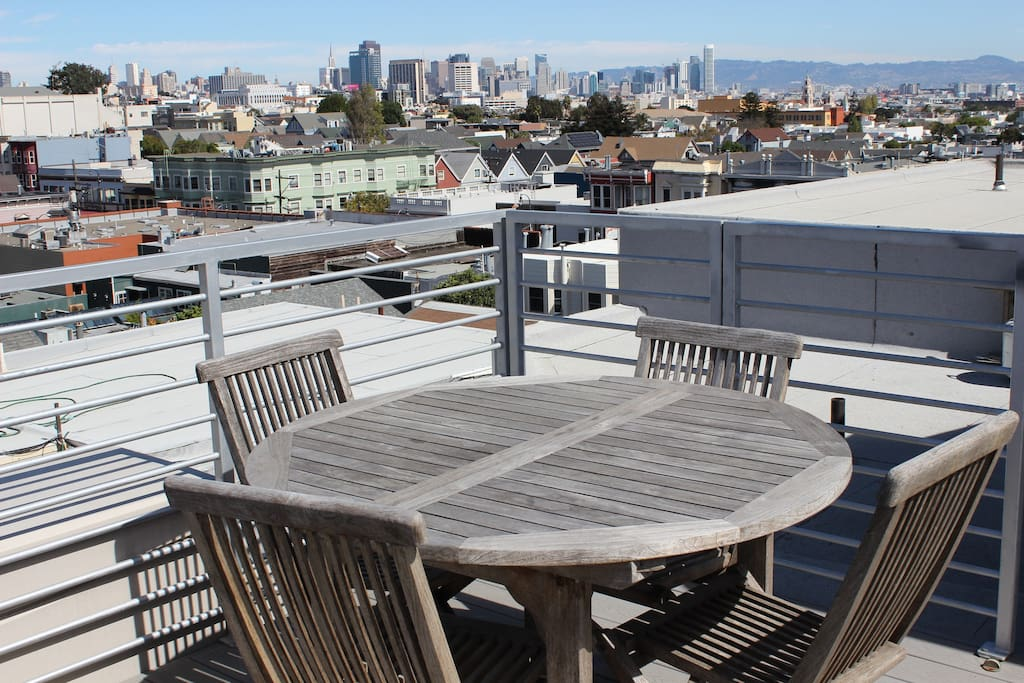 roof terrace overlooking downtown San Francisco