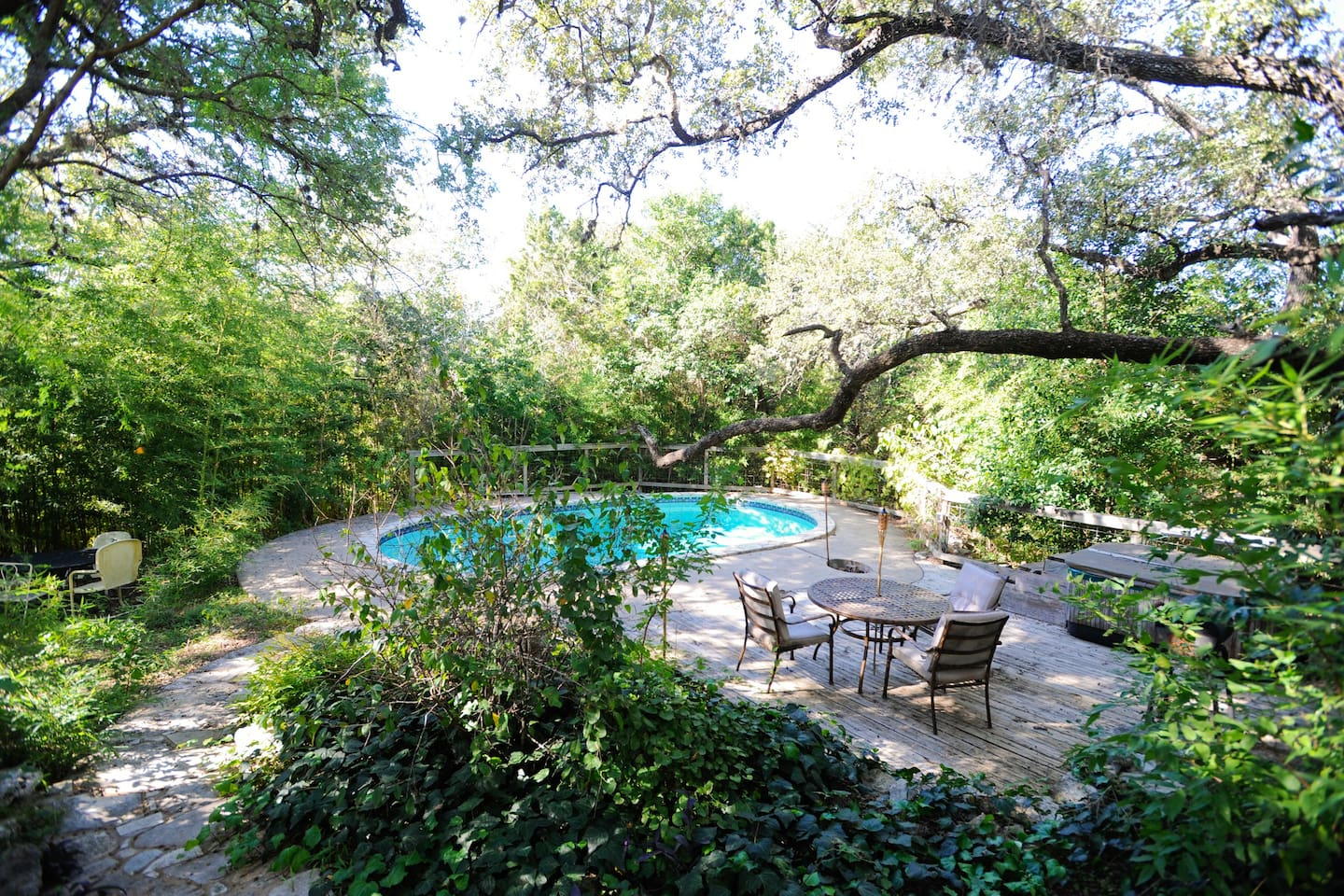 Rare and Secluded Back Patio and Pool  to the West, Beautiful View of Austin Hills and Texas Sunsets