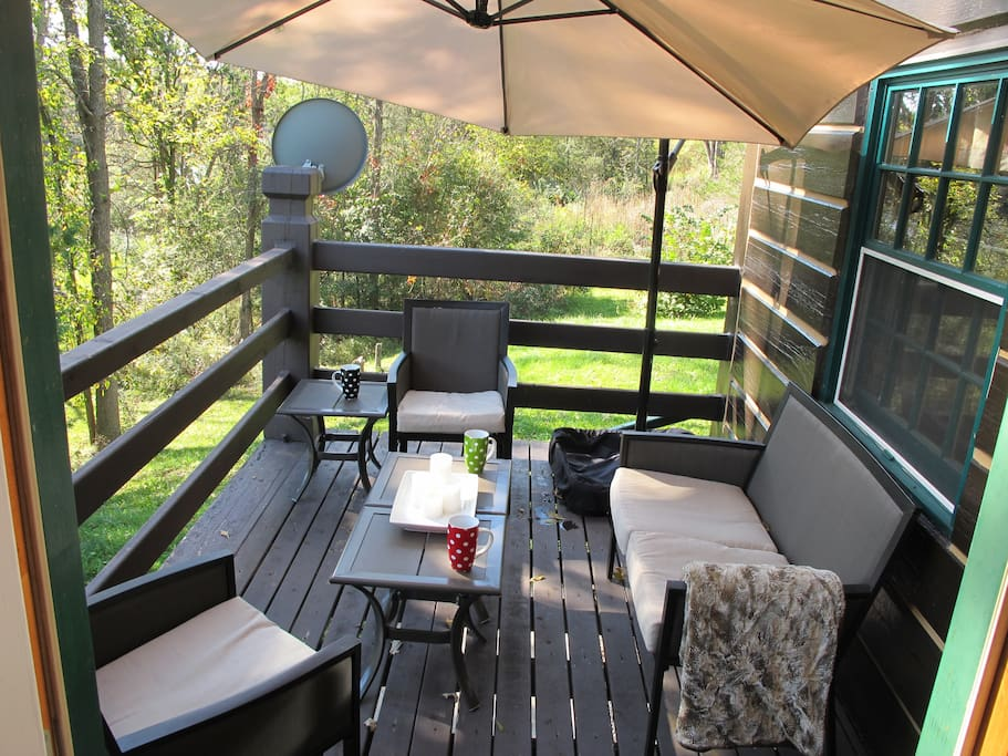 Enjoy the view of the river with morning coffee on the front deck.