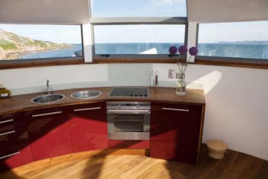 Kitchen on top floor with 360 o views of Dublin Bay.