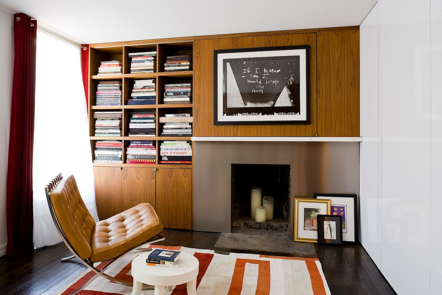 The Living Room with Fireplace and Bookcase