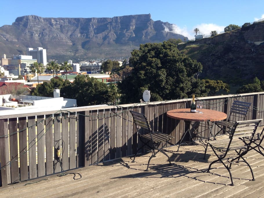 The rooftop has splendid views from the sea to Table Mountain
