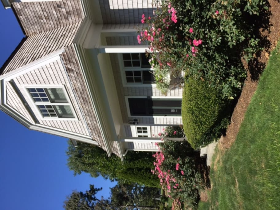front with rose bushes