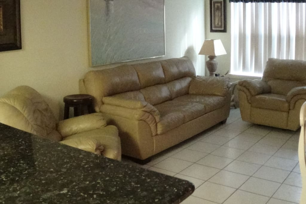 New leather sofa sleeper 2 reclining leather easy chairs granite in new Kitchen