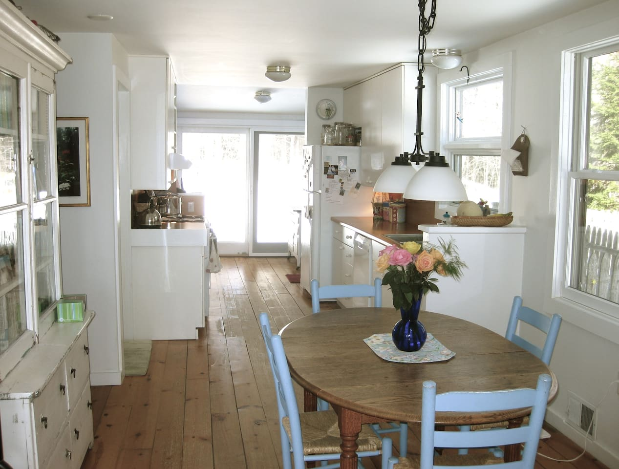 Sunny and spacious dining/kitchen area.