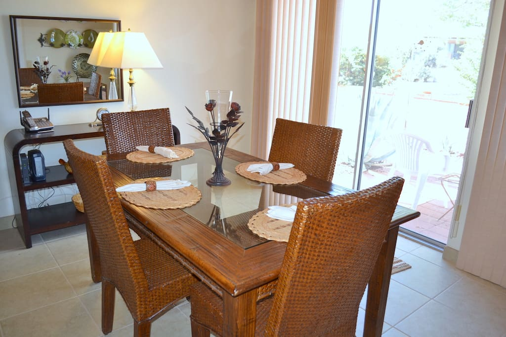 Dining room opens to patio.